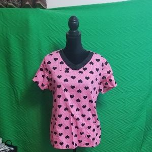 Darling pink and black scrub top